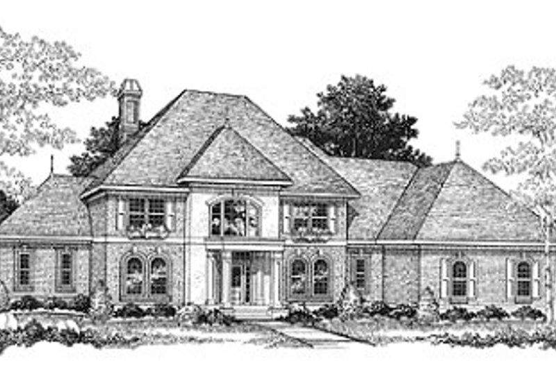European Style House Plan - 4 Beds 3.5 Baths 3546 Sq/Ft Plan #70-528 Exterior - Front Elevation