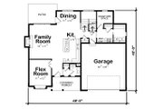 Traditional Style House Plan - 4 Beds 3.5 Baths 2527 Sq/Ft Plan #20-2279 Floor Plan - Main Floor Plan