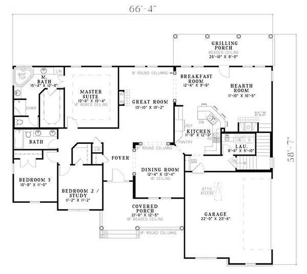 Country Floor Plan - Main Floor Plan Plan #17-2478