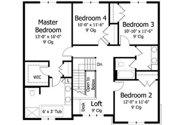Traditional Floor Plan - Upper Floor Plan Plan #51-392