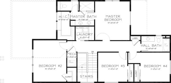 Craftsman Floor Plan - Upper Floor Plan Plan #434-22