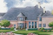 European Style House Plan - 4 Beds 5 Baths 4428 Sq/Ft Plan #20-1196 Exterior - Rear Elevation