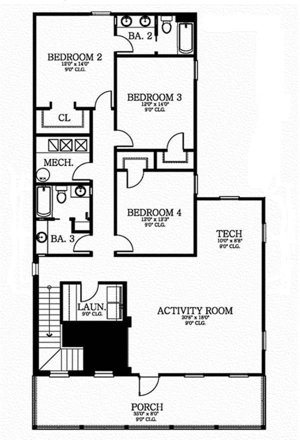Southern Floor Plan - Upper Floor Plan Plan #1058-75
