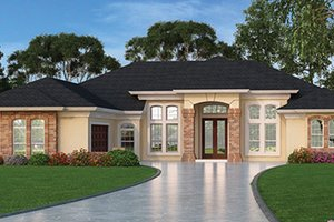 Dream House Plan - Mediterranean Exterior - Front Elevation Plan #417-806