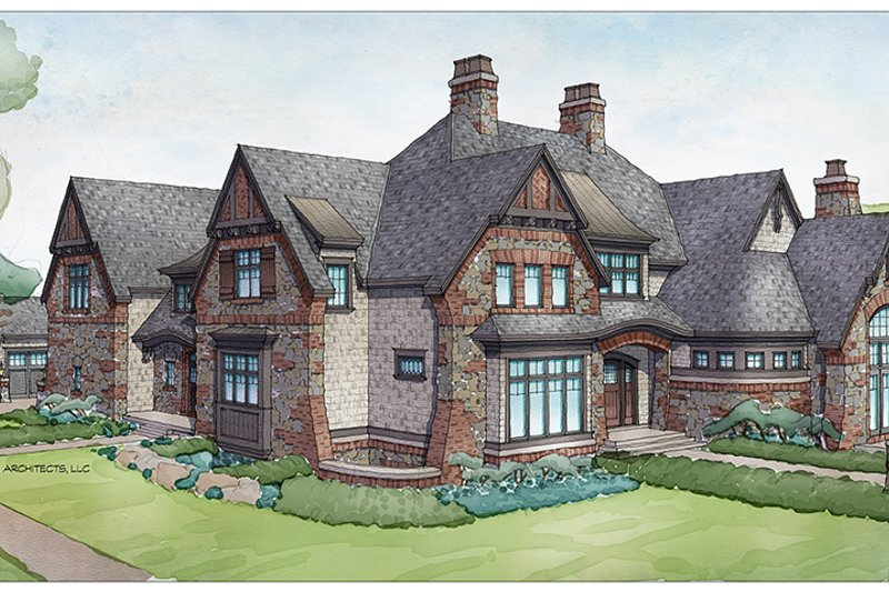 Tudor Exterior - Front Elevation Plan #928-275