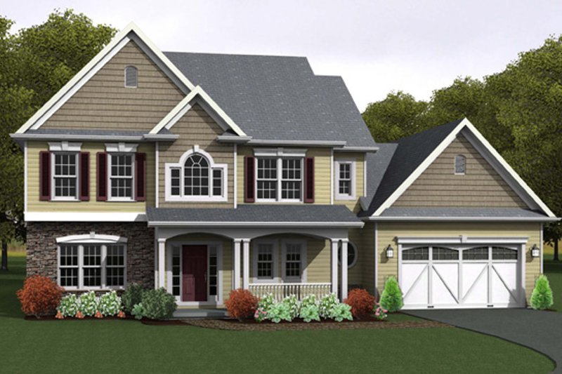 Country Style House Plan - 4 Beds 2.5 Baths 2378 Sq/Ft Plan #1010-89 Exterior - Front Elevation