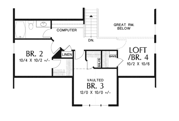 Craftsman Floor Plan - Upper Floor Plan Plan #48-901