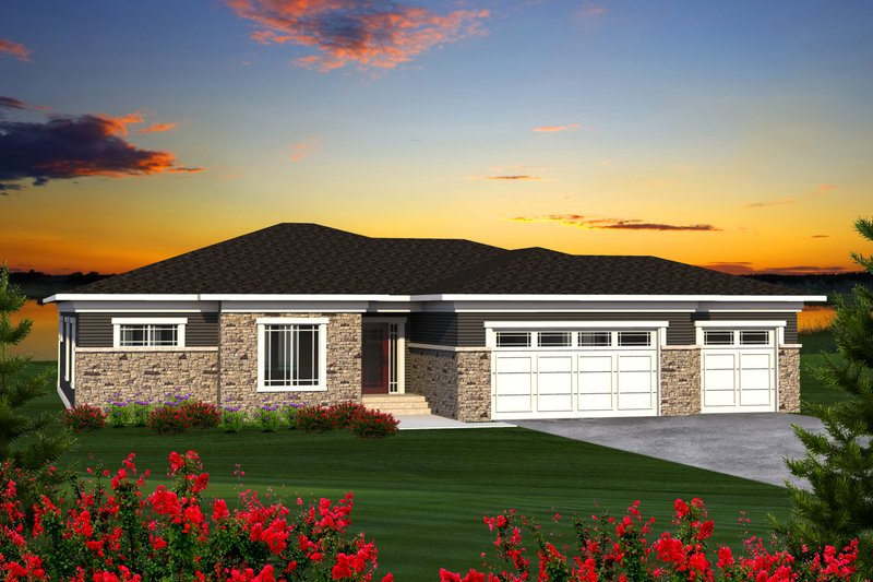 Ranch Exterior - Front Elevation Plan #70-1197