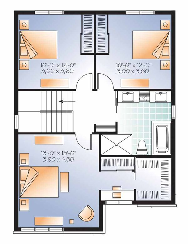 Contemporary Floor Plan - Upper Floor Plan Plan #23-2553