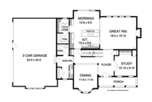 Colonial Floor Plan - Main Floor Plan Plan #1010-61