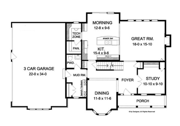 Colonial Floor Plan - Main Floor Plan Plan #1010-61