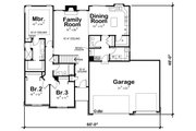 Country Style House Plan - 3 Beds 2.5 Baths 1635 Sq/Ft Plan #20-2192 Floor Plan - Main Floor Plan