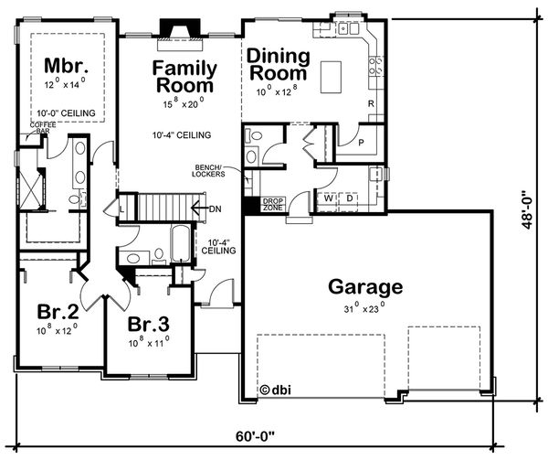 Country Floor Plan - Main Floor Plan Plan #20-2192