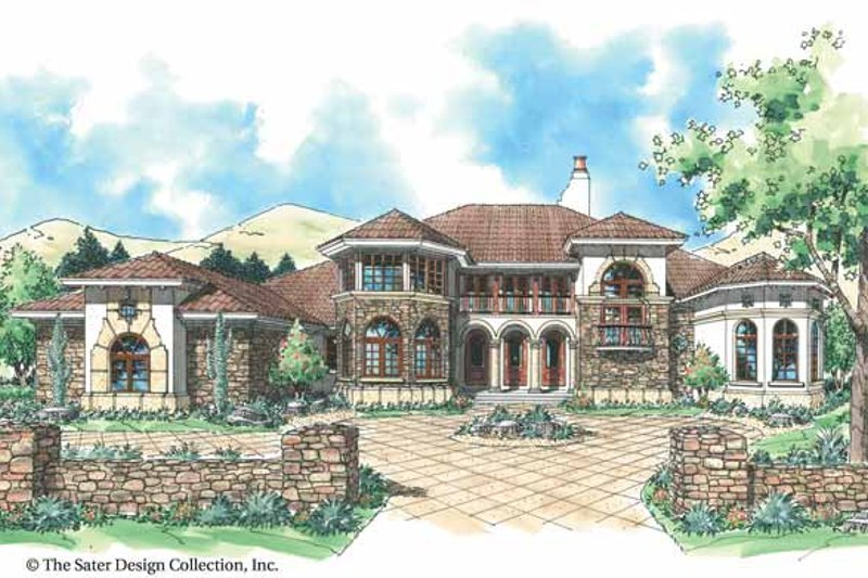 House Plan Design - Mediterranean Exterior - Front Elevation Plan #930-305