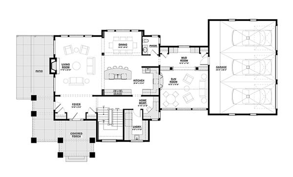 Craftsman Floor Plan - Main Floor Plan Plan #928-277