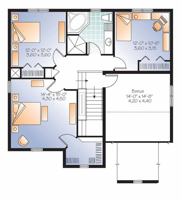 Country Floor Plan - Upper Floor Plan Plan #23-2538