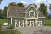 Craftsman Style House Plan - 1 Beds 1 Baths 838 Sq/Ft Plan #56-553 Exterior - Front Elevation