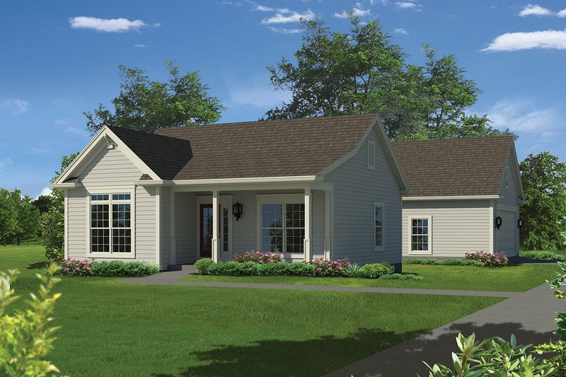 Country Style House Plan - 2 Beds 1 Baths 944 Sq/Ft Plan #57-651 Exterior - Front Elevation