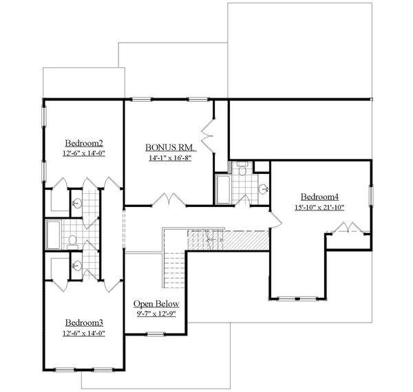 Farmhouse Floor Plan - Upper Floor Plan Plan #1071-6