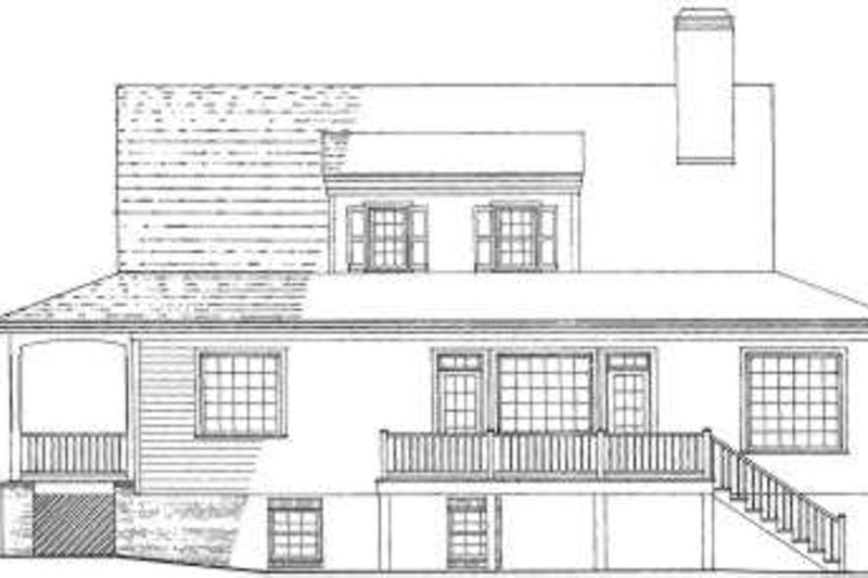 Country Exterior - Rear Elevation Plan #137-184 - Houseplans.com