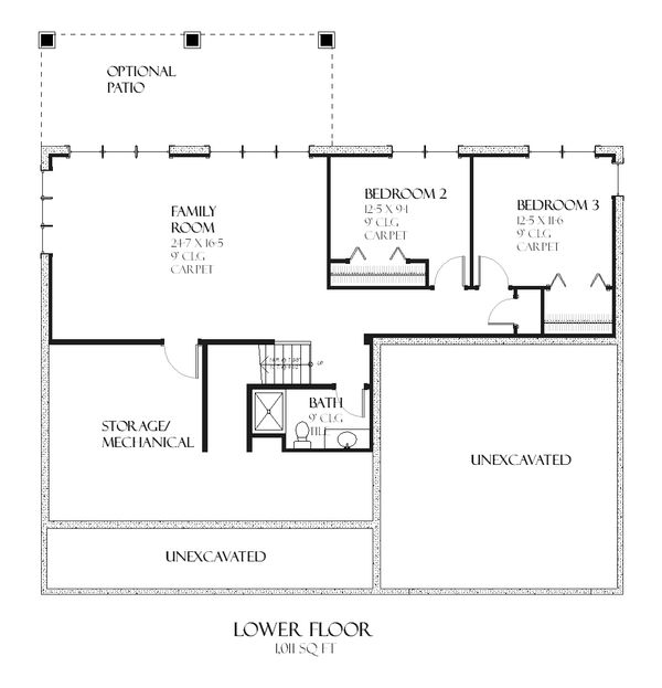 Country Style House Plan - 3 Beds 2.5 Baths 2424 Sq/Ft Plan #901-94 Floor Plan - Lower Floor Plan