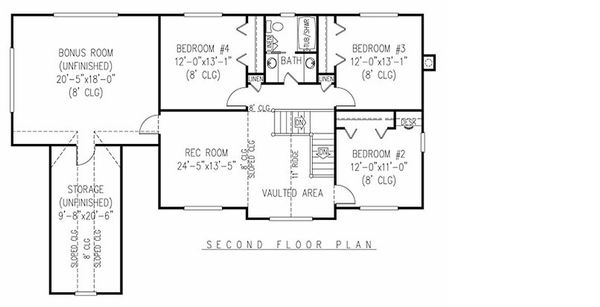 Farmhouse Floor Plan - Upper Floor Plan #11-124
