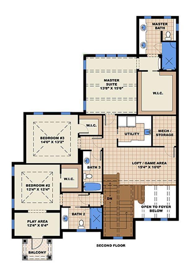 Beach Floor Plan - Upper Floor Plan Plan #27-517