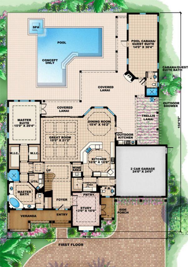 Mediterranean Floor Plan - Main Floor Plan Plan #27-526