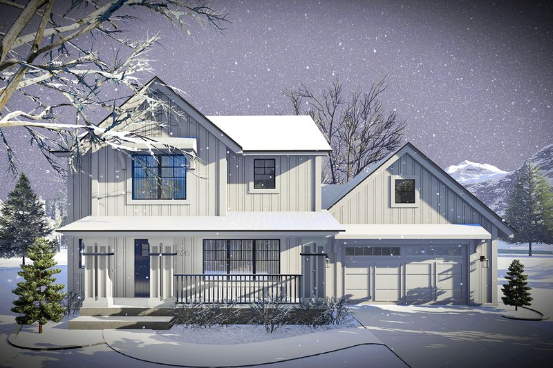 Farmhouse Style House Plan - 3 Beds 2.5 Baths 1484 Sq/Ft Plan #70-1453 Exterior - Front Elevation