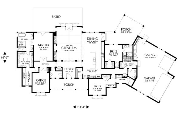 Farmhouse Floor Plan - Main Floor Plan #48-1027