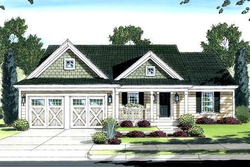 Country Style House Plan - 3 Beds 2 Baths 1321 Sq/Ft Plan #46-411 Exterior - Front Elevation