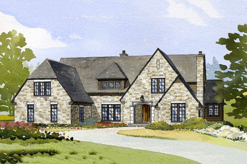 European Style House Plan - 4 Beds 3.5 Baths 4635 Sq/Ft Plan #901-102 Exterior - Front Elevation