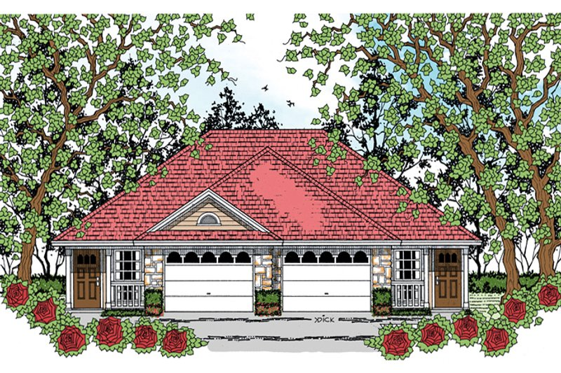 Traditional Exterior - Front Elevation Plan #42-726 - Houseplans.com
