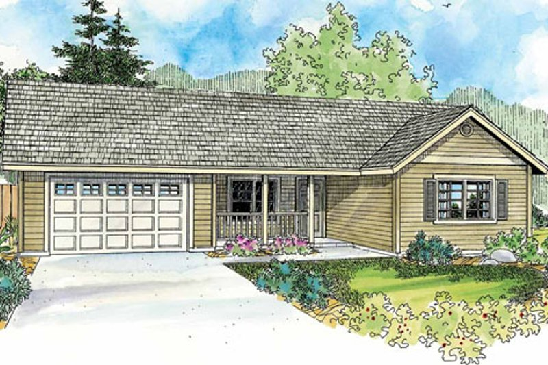 Ranch Exterior - Front Elevation Plan #124-769