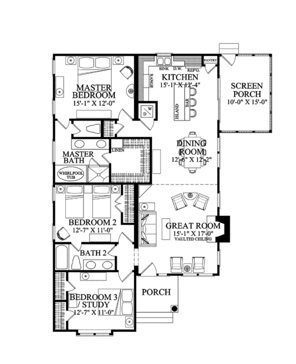 Bungalow Floor Plan - Main Floor Plan Plan #137-360
