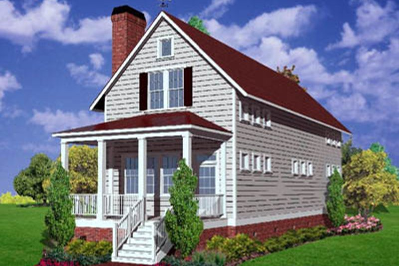 Farmhouse Style House Plan - 3 Beds 2 Baths 2034 Sq/Ft Plan #30-102 Exterior - Front Elevation