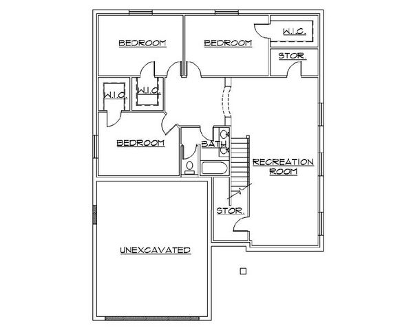 Architectural House Design - Ranch Floor Plan - Lower Floor Plan #5-234
