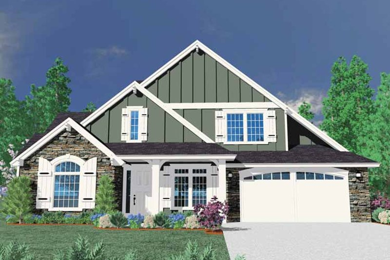 Country Exterior - Front Elevation Plan #509-355