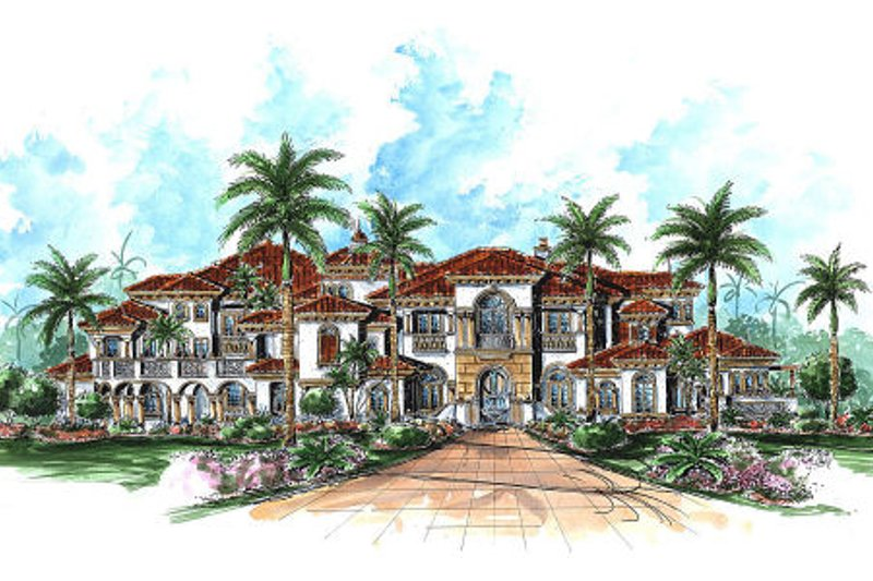 Mediterranean Style House Plan - 6 Beds 6.5 Baths 9870 Sq/Ft Plan #27-278 Exterior - Front Elevation