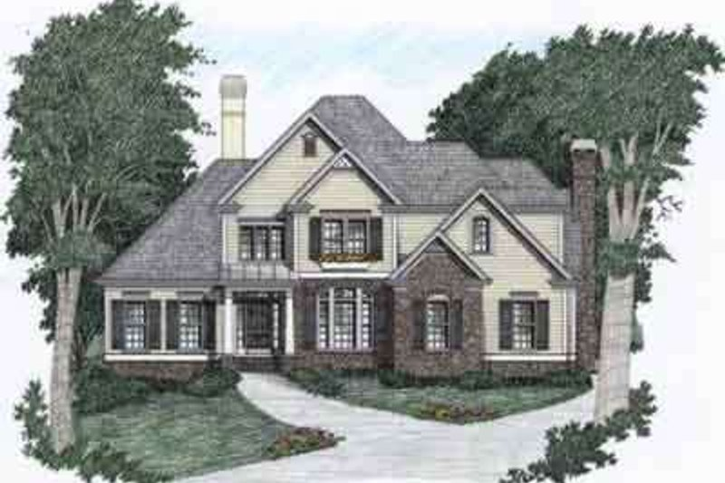 Traditional Style House Plan - 4 Beds 3.5 Baths 2559 Sq/Ft Plan #129-102 Exterior - Front Elevation