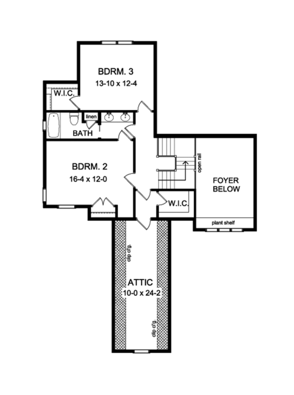 Colonial Floor Plan - Upper Floor Plan Plan #1010-112