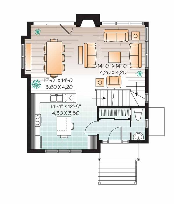 European Floor Plan - Main Floor Plan Plan #23-2491