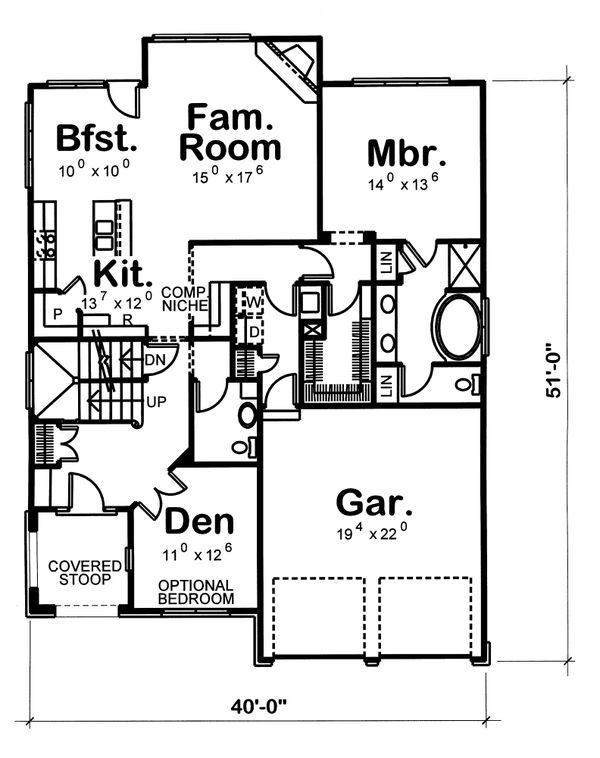 Home Plan Design - European Floor Plan - Main Floor Plan #20-1231