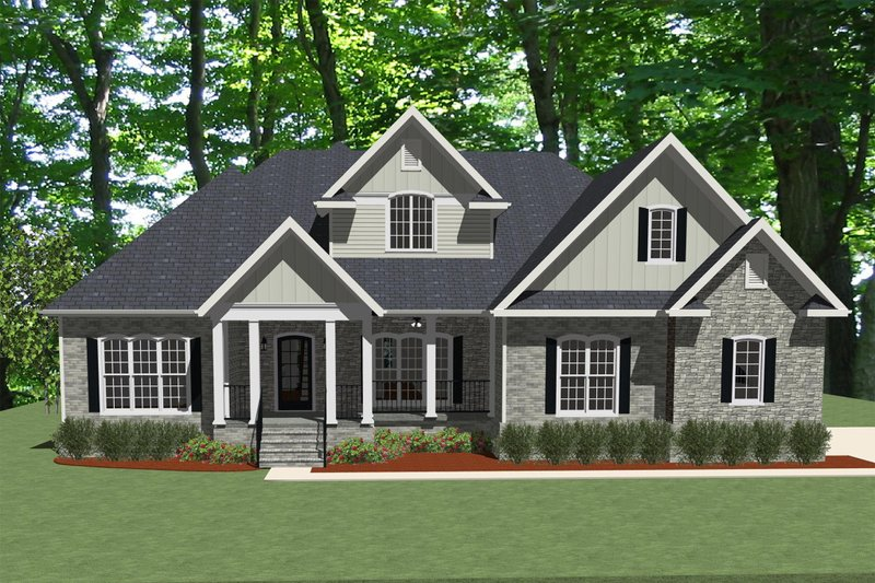 Traditional Style House Plan - 4 Beds 3.5 Baths 2833 Sq/Ft Plan #898-1 Exterior - Front Elevation