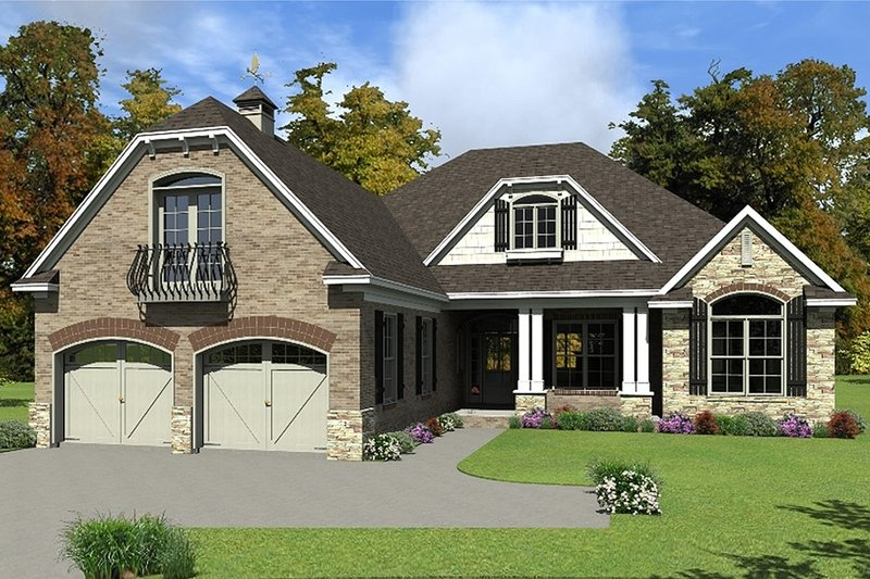 European Exterior - Front Elevation Plan #63-415