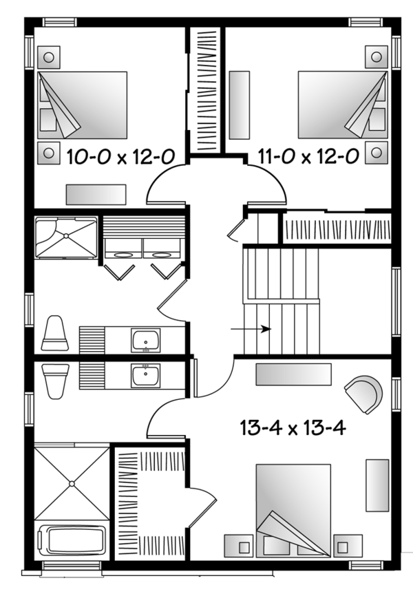 Contemporary Floor Plan - Upper Floor Plan Plan #23-2482
