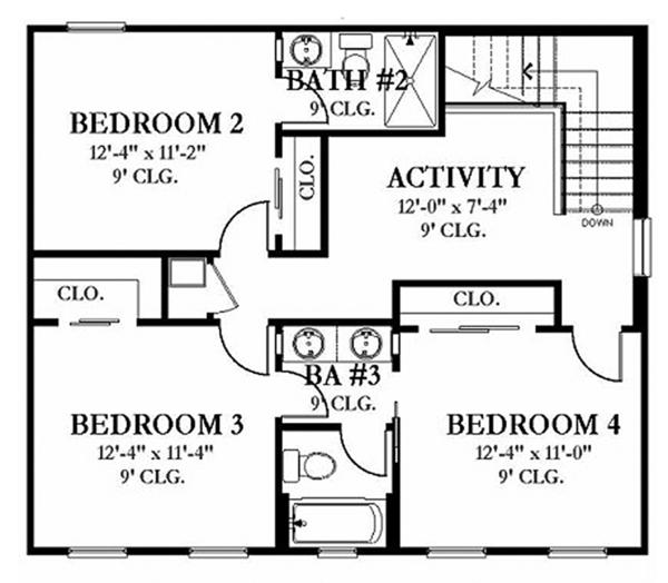 Colonial Floor Plan - Upper Floor Plan Plan #1058-132
