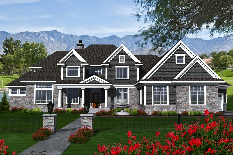 Traditional Style House Plan - 3 Beds 2.5 Baths 3926 Sq/Ft Plan #70-1147 Exterior - Front Elevation
