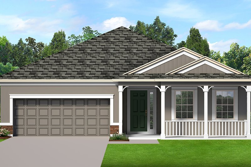 Ranch Style House Plan - 3 Beds 2 Baths 1806 Sq/Ft Plan #1058-186 Exterior - Front Elevation