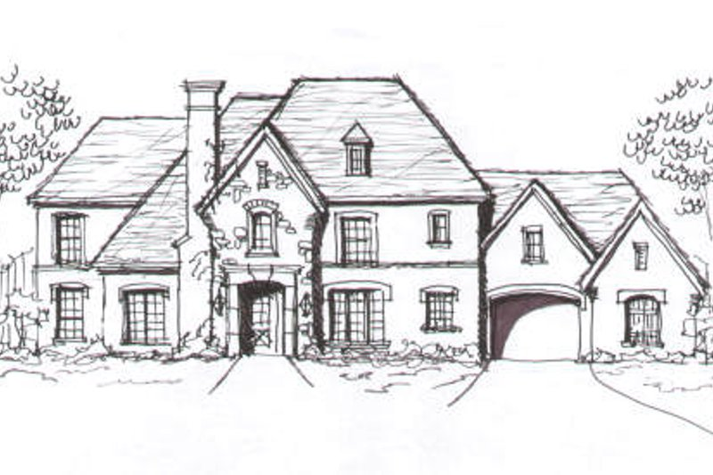European Style House Plan - 5 Beds 4.5 Baths 4762 Sq/Ft Plan #141-248 Exterior - Front Elevation